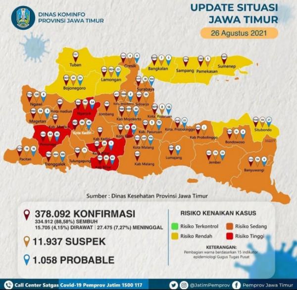 Peta sebaran covid-19 di Jawa Timur (foto: Dinas Kominfo Jawa Timur)