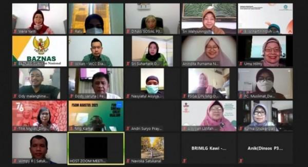 Pelaksanaan Focus Group Discussion (FGD) tentang Pengarusutamaan Gender (PUG) di Kota Malang yang digelar secara virtual, Jumat (27/8/2021). (Foto: Dok. Dinsos-P3AP2KB Kota Malang)