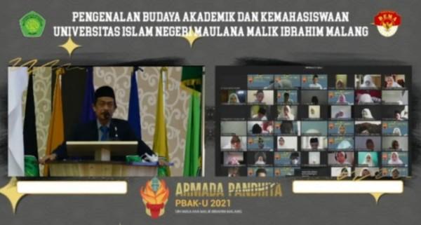 Suasana saat Rektor UIN Maliki Malang Prof Zainuddin membuka PBAK 2021