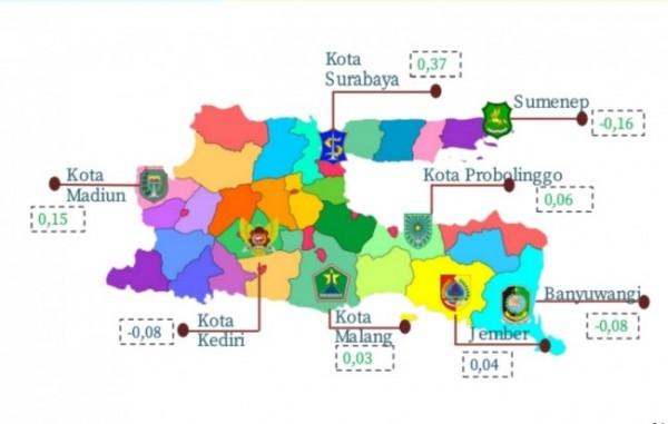 Sebaran peta inflasi di Jawa Timur (Ist)
