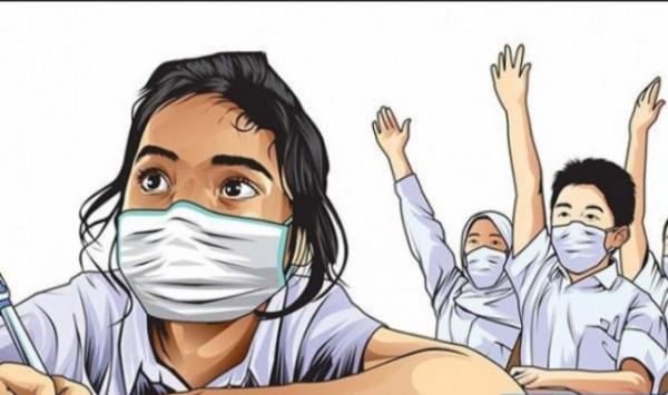 Ilustrasi pendidikan tatap muka dengan menggunakan protokol kesehatan.(foto: ilustrasi).