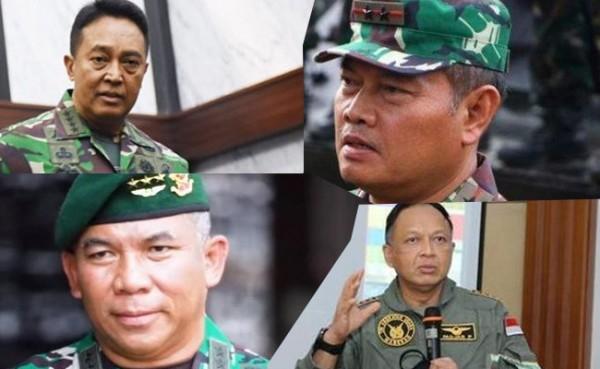 4 calon Panglima TNI Jenderal Andika Perkasa, Yudo Margono, Eko Margiyono, dan Fadjar Prasetyo (Foto: IST)