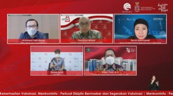 "Diskusi daring Dialog Produktif Rabu Utama ""Mengenal Lebih Dekat Aplikasi PeduliLindungi"", Rabu (8/9/2021) (Ist)"
