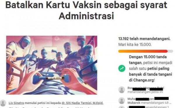 Petisi Batalkan Kartu Vaksin (Foto: change.org)
