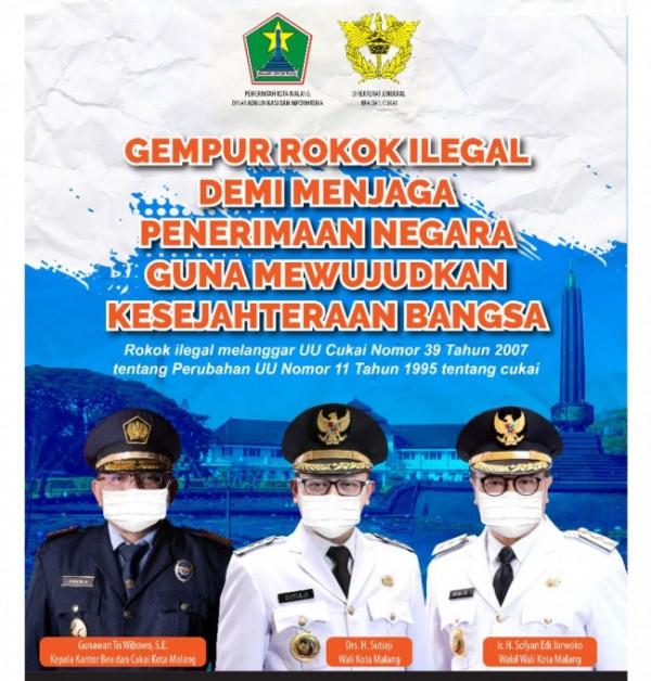 Sinergitas Pemerintah Kota Malang bersama Bea Cukai Malang gempur rokok ilegal. (Foto: Istimewa).