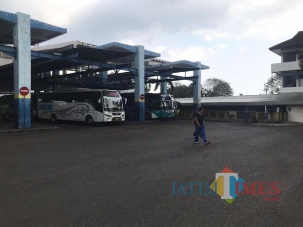 Beberapa armada bus yang mulai beroperasi di TTA Arjosari (foto: Hendra Saputra/MalangTIMES)
