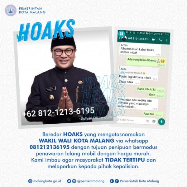 Postingan Instagram Pemkot Malang yang memberitahukan nomor ponsel hoaks yang mengatasnamakan wakil wali kota Malang. (foto: istimewa)