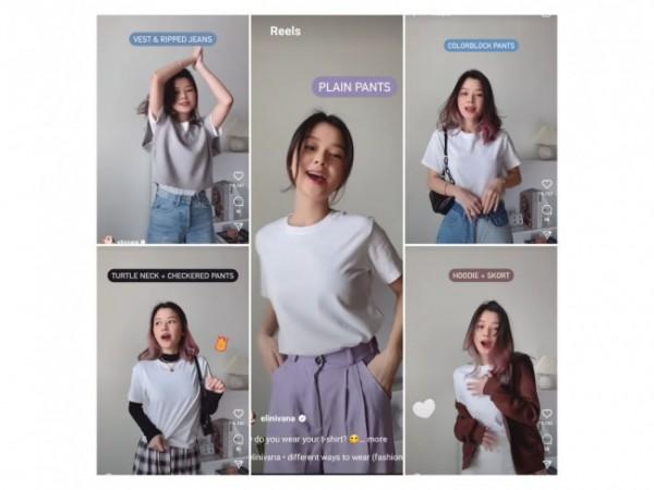 Inspirasi buat kaus putih menjadi beberapa outfit berbeda. (Foto: Instagram @elinivana).