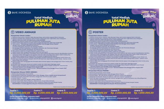 Flyer syarat dan ketentuan Lomba Semarak Edukasi Cinta, Bangga, Paham Rupiah. Foto (Dok KPw BI Kediri)