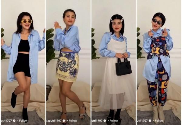 Inspirasi ubah 1 kemeja menjadi berbagai outfit kekinian. (Foto: Instagram @taniaputri1707).