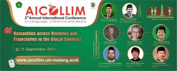 Flyer forum Asosiasi Dosen Ilmu-Ilmu Adab (ADIA) se Indonesia dan juga 3rd Annual Internasional Conference on Language, Literatur and Media (AICOLLIM) secara virtual (Ist)