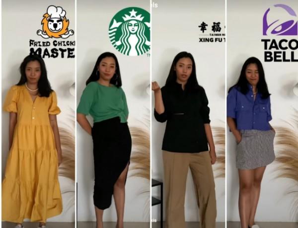 Inspirasi outfit dari warna-warna logo restaurant. (Foto: Instagram @3mongkis).