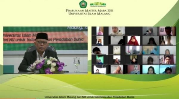 Rektor Unisma, Prof Dr Maskuri MSi saat membuka Master Maba 2021(ist)
