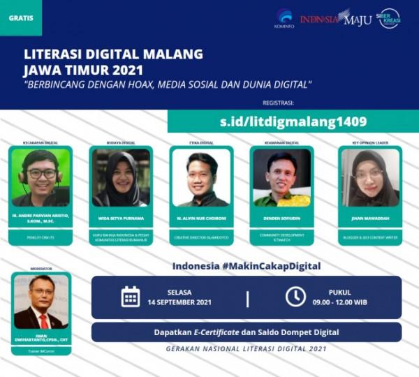 Literasi Digital Malang Jawa Timur 2021 yang diselenggarakan secara daring (Ist)