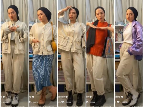 Styling one set outfit menjadi beragam busana berbeda. (Foto: Instagram @tasyakissty).
