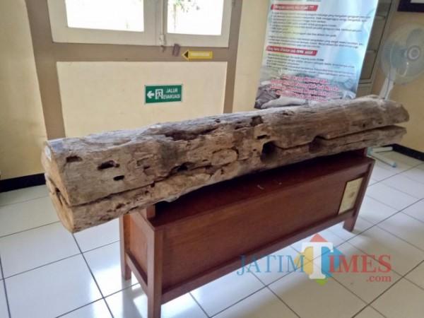 Replika batang pohon untuk pasung kaki yang dibuat oleh pihak RSJ Lawang pada tahun 2009 untuk tujuan edukasi. (Foto: Imarotul Izzah/JatimTIMES)