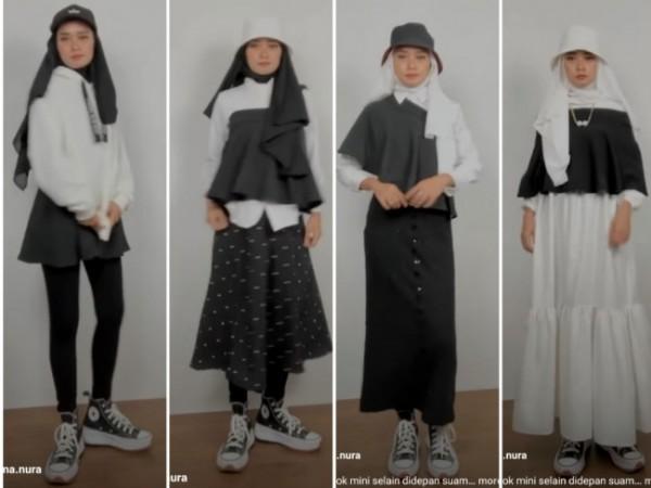 Styling rok mini untuk berbagai outfit buat hijabers. (Foto: Instagram @rahma.nura).