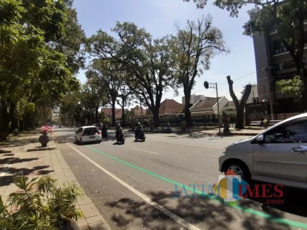 Garis hijau memanjang jalur sepeda baru di kawasan Jl Ijen Kota Malang. (Arifina Cahyanti Firdausi/MalangTIMES).