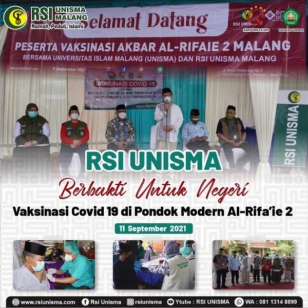 RSI Unisma Malang melakukan kegiatan vaksinasi covid 19 di Pondok Pesantren Al Rifa'ie. (Ist)