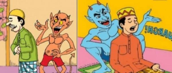 Ilustrasi seseorang yang salat tengah digoda oleh setan (istimewa)