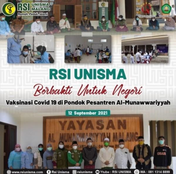 Tim RSI Unisma yang melakukan kegiatan vaksinasi di Ponpes Al Munawwariyah (Ist)