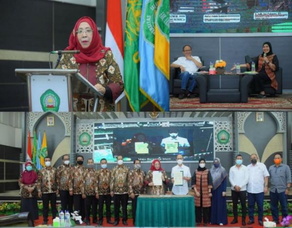 Dekan FEB Unisma saat memberikan sambutan dalam webinar dan kegiatan MoU bersama Kadin Jawa Timur. (Ist)