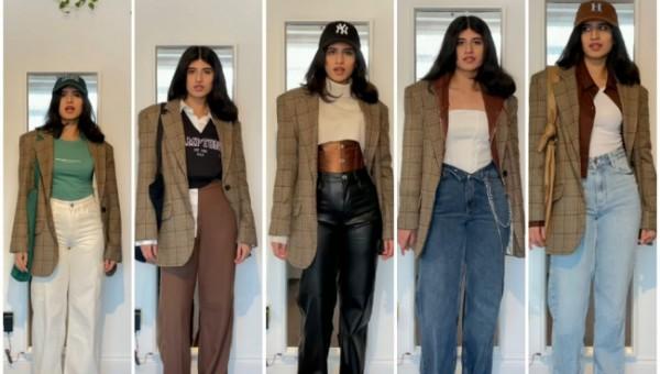 Inspirasi padu padan 1 jenis plaid blazer untuk aneka look. (Foto: Instagram @unzalicious).