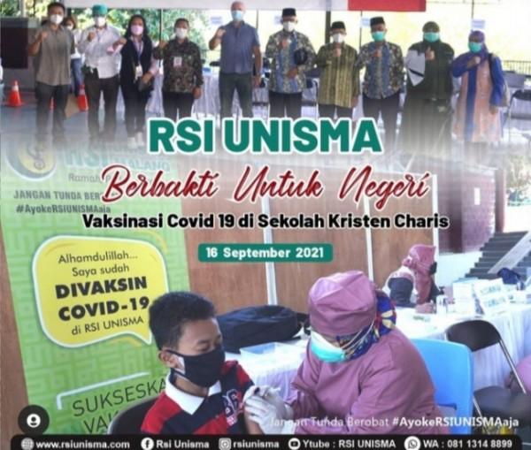 RSI Unisma Malang yang melakukan kegiatan vaksinasi covid 19 di Sekolah Kristen Charis (Ist)
