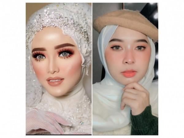Hasil riasan wedding Khadijah Azzahra (Kiri), dan Aghnia Melinda (Kanan). (Foto: Instagram).