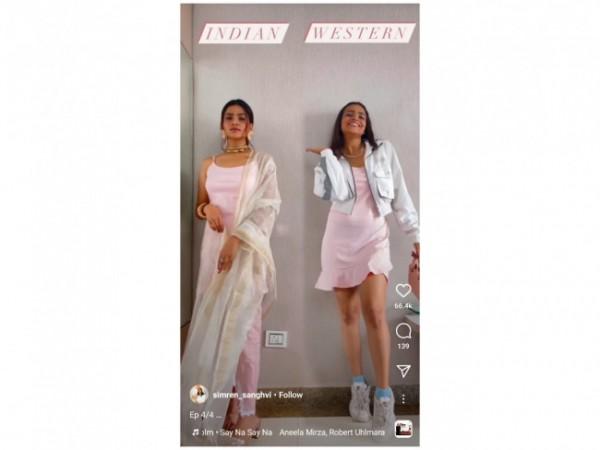 Inspirasi Indian dan Western Style dengan mini-sleep dress. (Foto: Instagram @simren_sanghvi).
