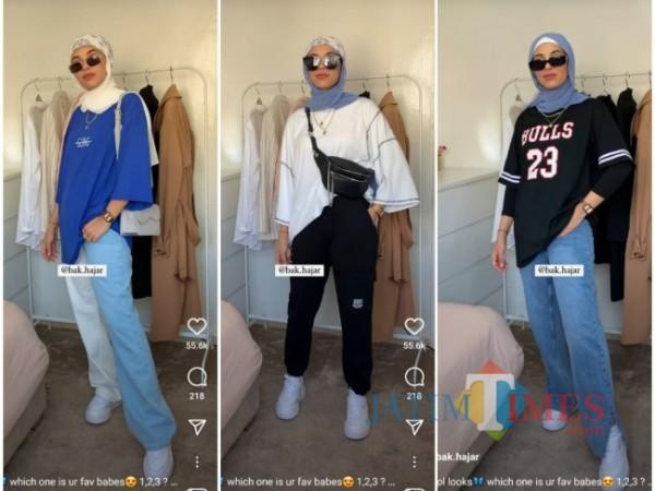 Inspirasi busana oversized t-shirt ala hijabers. (Foto: Instagram @bak.hajar).