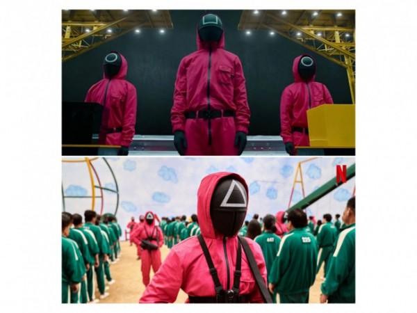 Kostum staf permainan bertahan serial Drama Korea Squid Game. (Foto: Twitter @NetflixKR).