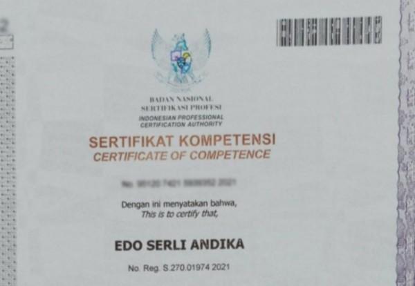 Potongan gambar sertifikat kompetensi yang diperoleh mahasiswa Unikama (Ist)